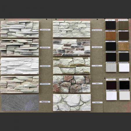 образцы камня и цветов дерева