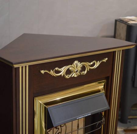 Комплект Калипсо угловой тёмный дуб с золотом, очаг Маджестик