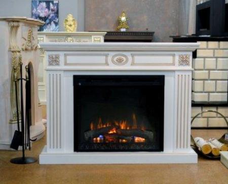 Комплект Bianca цвет белый с золотой патиной, с очагом XHD 28
