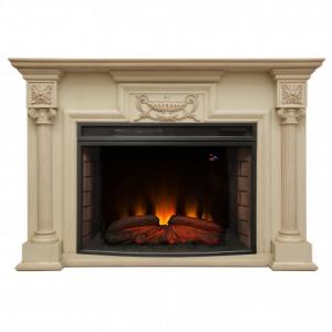 Комплект London цвет белёный дуб, очаг FireSpace 33 S IR